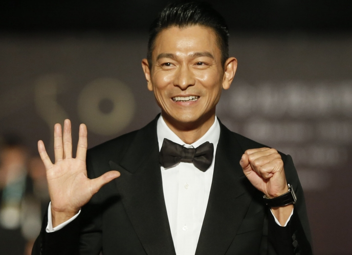 FILE - In this Saturday, Nov. 13, 2013, file photo, Hong Kong actor Andy Lau poses on the red carpet at the 50th Golden Horse Awards in Taipei, Taiwan. Hong Kong actor Andy Lau has been injured while working in Thailand. A statement from his representative said the 55-year-old actor fell off a horse and injured his pelvis on the set of a commercial. (AP Photo/Wally Santana, File)
