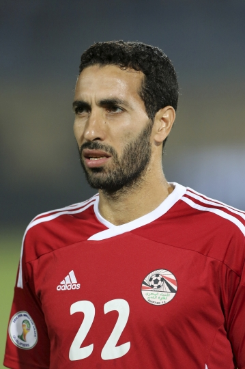 """FILE - In this Tuesday, Nov. 19, 2013 file photo, Egypt's midfielder Mohamed Aboutrika is seen at the World Cup qualifying playoff second leg soccer match, at the Air Defense Stadium in Cairo, Egypt. Egyptian authorities on Wednesday, Jan. 18, 2017 have added one of the country's all-time greatest soccer players, Mohamed Aboutrika, to a terror watch and no-fly list over accusations he helped finance the Muslim Brotherhood, now banned as a terrorist organization. Authorities also say they've arrested nine alleged Brotherhood leaders for planning to """"disrupt order and security"""" on the upcoming Jan. 25 anniversary of the 2011 Arab Spring uprising. (AP Photo/Manu Brabo, File)"""