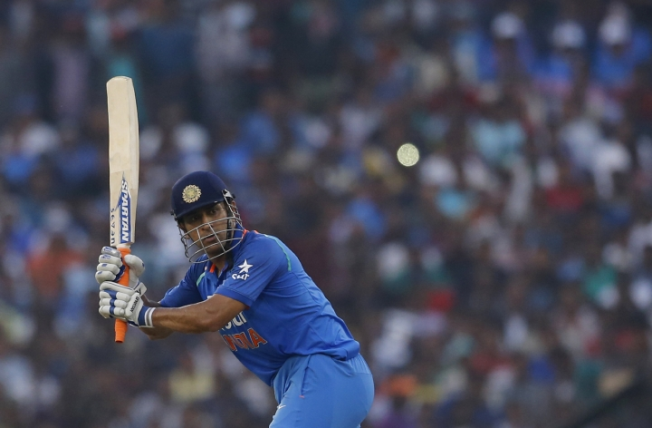 India's Mahendra Singh Dhoni bats during the second one-day international cricket match against England in Cuttack, India, Thursday, Jan. 19, 2017. (AP Photo/Aijaz Rahi)