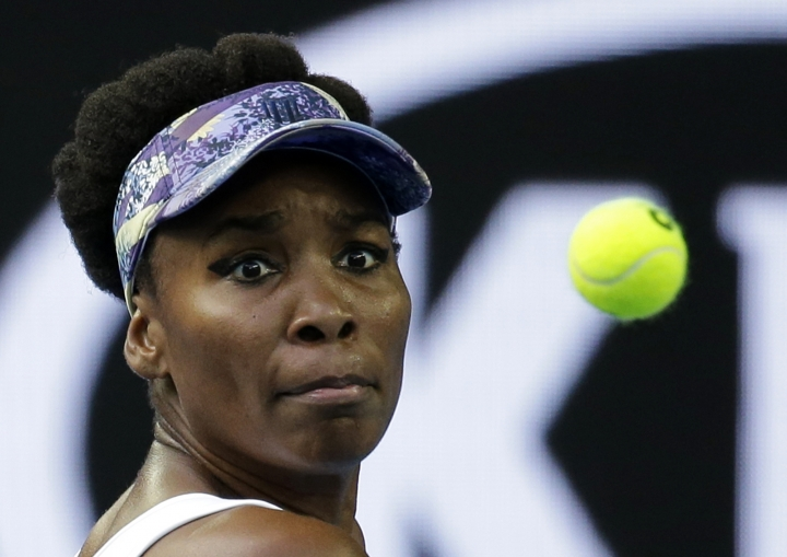 United States' Venus Williams prepares to hit a backhand return to China's Duan Yingying during their third round match at the Australian Open tennis championships in Melbourne, Australia, Friday, Jan. 20, 2017. (AP Photo/Aaron Favila)
