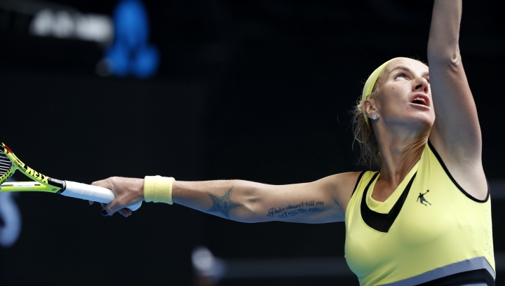 Russia's Svetlana Kuznetsova serves to Serbia's Jelena Jankovic during their third round match at the Australian Open tennis championships in Melbourne, Australia, Friday, Jan. 20, 2017. (AP Photo/Kin Cheung)