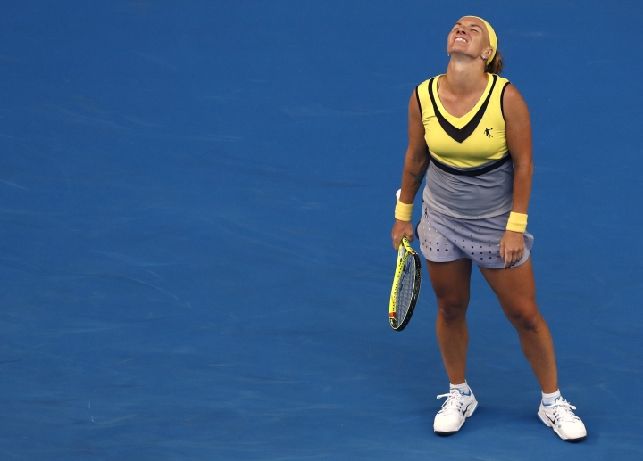 Russia's Svetlana Kuznetsova looks up after missing a shot against Serbia's Jelena Jankovic during their third round match at the Australian Open tennis championships in Melbourne, Australia, Friday, Jan. 20, 2017. (AP Photo/Kin Cheung)