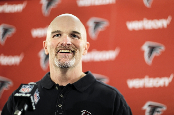 Atlanta Falcons head coach Dan Quinn answers questions at the football team's practice facility in Flowery Branch, Ga., Monday, Jan. 23, 2017. The Falcons will play the New England Patriots in the Super Bowl on Sunday Feb. 5. (AP Photo/David Goldman)
