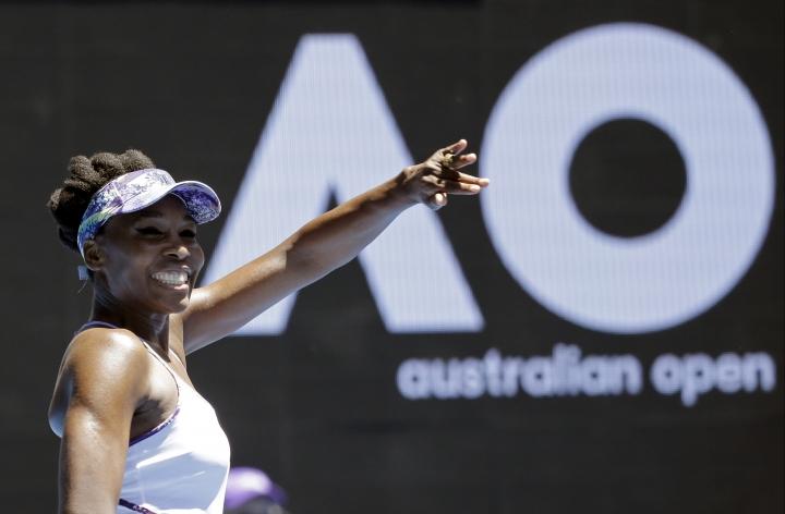 United States' Venus Williams celebrates after defeating Russia's Anastasia Pavlyuchenkova during their quarterfinal at the Australian Open tennis championships in Melbourne, Australia, Tuesday, Jan. 24, 2017. (AP Photo/Aaron Favila)