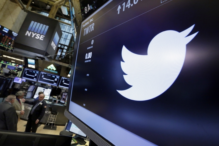 FILE - In this May 4, 2016. file photo, the symbol for Twitter appears above its trading post on the floor of the New York Stock Exchange. Supporters and critics of President Donald Trump powered a #ThankYouTrump trend on Twitter on Jan. 25, 2017. (AP Photo/Richard Drew, File)