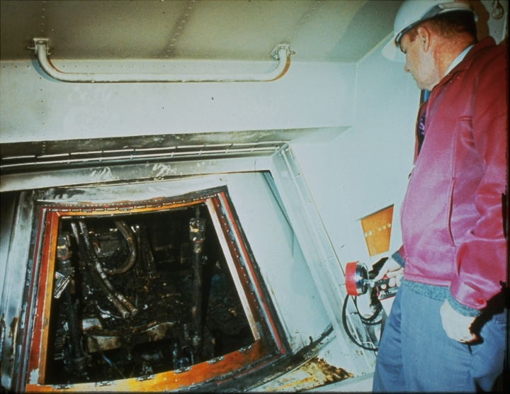 FILE - This 1967 file photo shows the charred interior of the Apollo I spacecraft after a fire which killed astronauts Ed White, Roger Chaffee, and Virgil Grissom on Jan. 27, 1967. A NASA official said the rehearsal had reached 10 minutes away from a simulated blastoff, one of many tests that was to precede the planned flight in the next month. (AP Photo)