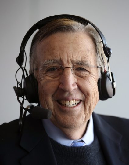 In this Dec. 17, 2016, photo provided by ESPN, Brent Musburger smiles during the Las Vegas Bowl college football game. Musburger is calling an end to his broadcast career. Millions of Americans experienced sporting events through his folksy narration, most often when he was the lead voice of CBS Sports during the 1980s. Musburger will call his last game for ESPN on Jan. 31, a college basketball contest pitting Kentucky against Georgia. (Gabriel Christus/ESPN Images via AP)