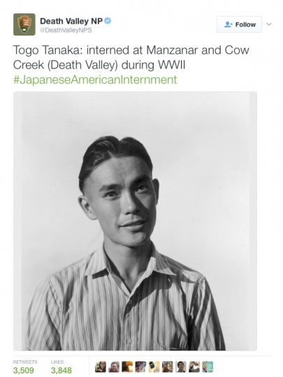 This image shows a Twitter post from the National Park Service's Death Valley National Park account. The National Park Service employees' Twitter campaign against President Donald Trump has spread to other parks. A day after three climate-related tweets sent out by Badlands National Park were deleted, other park accounts have sent out tweets. Death Valley National Park tweeted photos of Japanese Americans interned there during World War II, a message that some saw as objecting to Trump's pledge to ban Muslims from entering the country and a proposal to restrict the flow of refugees to the United States. A park service spokesman declined to comment on Jan. 25. (National Park Service via AP)