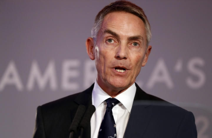 Martin Whitmarsh, CEO of the Landrover Bar America's Cup team, speaks during an America's Cup Press Conference in London, Wednesday, Jan. 25, 2017. (AP Photo/Kirsty Wigglesworth)