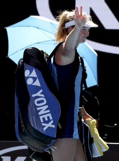 United States' Coco Vandeweghe waves after her loss to compatriot Venus Williams during their semifinal at the Australian Open tennis championships in Melbourne, Australia, Thursday, Jan. 26, 2017. (AP Photo/Aaron Favila)