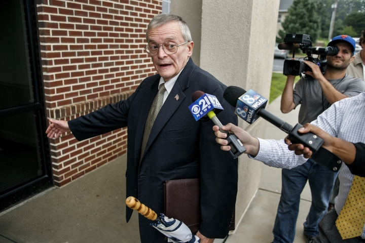 FILE – In this July 14, 2015 file photo, former Harrisburg, Pa., Mayor Stephen Reed arrives for his preliminary arraignment at District Judge William Wenner's offices in Lower Paxton Township, Pa. A sentencing hearing for Reed is scheduled for Friday, Jan. 27, 2017, in a courthouse around the corner from the mayoral offices he once occupied. Reed will learn if he'll spend time in jail after pleading guilty to accumulating Wild West artifacts he bought with public money for a museum that was never built.(Dan Gleiter/PennLive.com via AP, File)