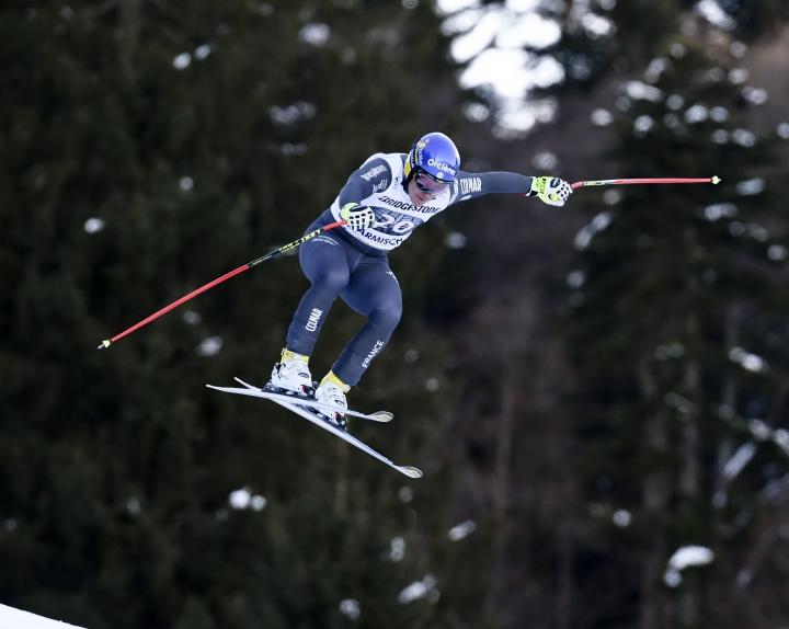 France's Valentin Giraud Moine competes before crashing during an alpine ski, men's World Cup downhill race, in Garmisch Partenkirchen, Friday, Jan. 27, 2017. (AP Photo/Marco Tacca)