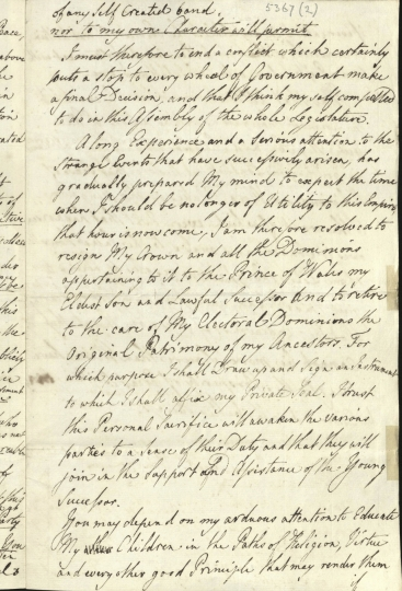 "A handout from Britain's Royal Archive image released on Saturday Jan. 28, 2017, shows a page from a draft abdication letter written in March 1783 said to be by the hand of Britain's King George III. An enormous cache of historical documents from Britain's royal archives detailing the life and reign of King George III is set to go online as part of the British royal family's ongoing effort to rehabilitate the legacy of the monarch widely regarded as having been insane. The monarch was America's last king and is often referred to as ""Mad King George."" (Royal Archives / © Her Majesty Queen Elizabeth II 2017 via AP)"