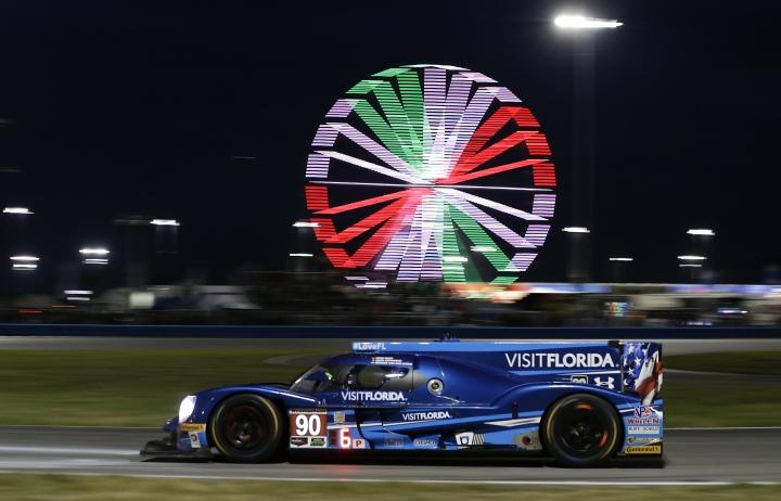 Rene Rast, of Germany, drives the Multimatic/Riley during the IMSA 24-hour auto race at Daytona International Speedway, Saturday, Jan. 28, 2017, in Daytona Beach, Fla. (AP Photo/John Raoux)