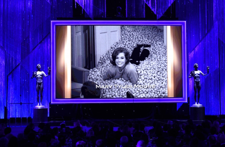 Mary Tyler Moore is pictured on screen during an In Memoriam tribute at the 23rd annual Screen Actors Guild Awards at the Shrine Auditorium & Expo Hall on Sunday, Jan. 29, 2017, in Los Angeles. (Photo by Chris Pizzello/Invision/AP)