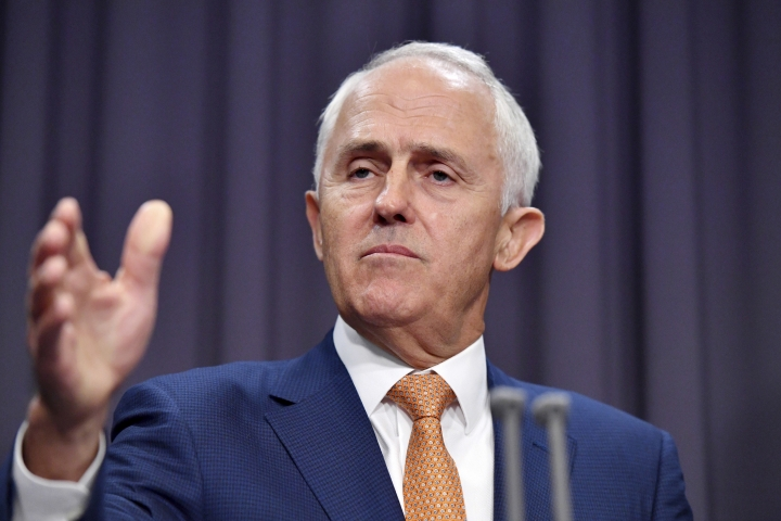 Australian Prime Minister Malcolm Turnbull comments on a deal with the United States accepting refugees from Australia at Parliament House in Canberra, Monday, Jan. 30, 2017. Turnbull said U.S. President Donald Trump had agreed to keep an Obama administration promise to resettle refugees languishing in Pacific island camps despite the U.S. toughening its stance on Muslim immigration. (Mick Tsikas/AAP Image via AP)