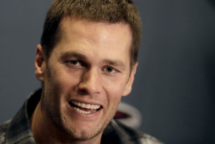 New England Patriots quarterback Tom Brady talks to the media during a news conference for the NFL Super Bowl 51 football game against the Atlanta Falcons. Tuesday, Jan. 31, 2017, in Houston. (AP Photo/Charlie Riedel)