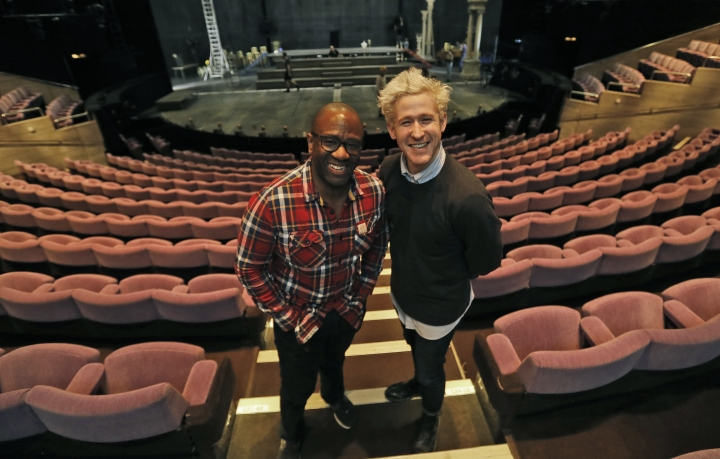 Lucian Msamati and Adam Gillen, right, the stars of the theatre play Amadeus, pose for a photograph in London, Monday, Jan. 30, 2017. Britain's National Theatre has a sold-out hit with a revival of Peter Shaffer's play about bad-boy genius Wolfgang Amadeus Mozart, played by Gillen, and his jealous rival Antonio Salieri, played by Msamati, composer to the 18th-century Viennese court. (AP Photo/Frank Augstein)