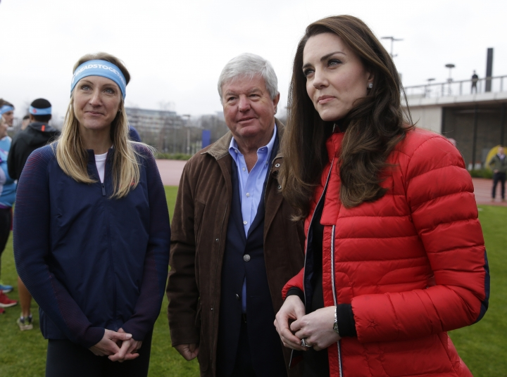 Britain's Kate Duchess of Cambridge, right and athlete Paula Radcliffe, left, look on, during a training event to promote the charity Heads Together, at the Queen Elizabeth II Park in London, Sunday, Feb. 5, 2017. (AP Photo/Alastair Grant, Pool)