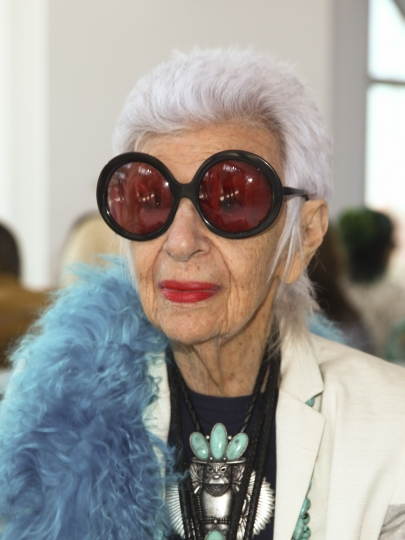 FILE - In this Sept. 16, 2015, file photo, Iris Apfel attends New York Fashion in New York. Apfel will be a celebrity guest on a fashion-themed trans-Atlantic crossing aboard the Queen Mary 2 ocean liner, departing England Aug. 31, arriving New York Sept. 7. (Photo by Andy Kropa/Invision/AP, File)