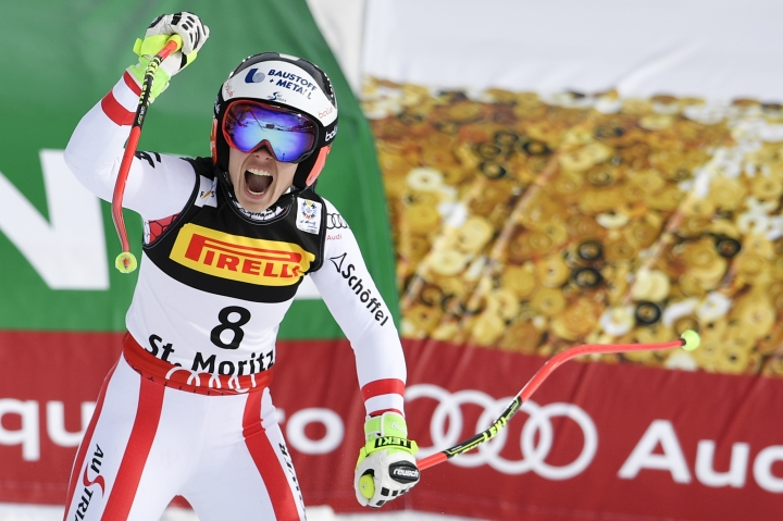 Austria's Nicole Schmidhofer reacts in the finish area during the women's Super-G at the 2017 Alpine Skiing World Championships in St. Moritz, Switzerland, Tuesday, Febr. 7, 2017. (Peter Schneider/Keystone via AP)
