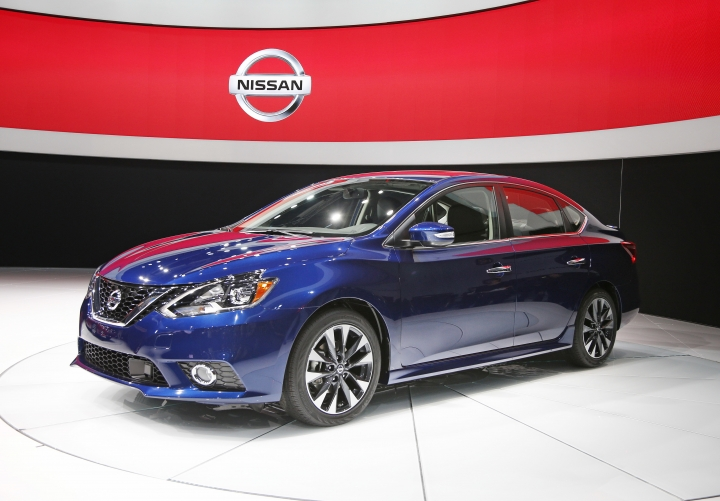 FILE - In this Wednesday, Nov. 18, 2015, file photo, the 2016 Nissan Sentra is debuted during the Los Angeles Auto Show, in Los Angeles. The Sentra was made in Smyrna, Tenn., from 1985 to 2000, when it was moved to Aguascalientes, Mexico, so the Smyrna plant could make SUVs. Since then, Nissan Motor Co. has built a second plant in Aguascalientes to make Sentras for global export. Nissan is Mexico's market leader and the biggest automotive manufacturer in the country. (AP Photo/John Locher, File)