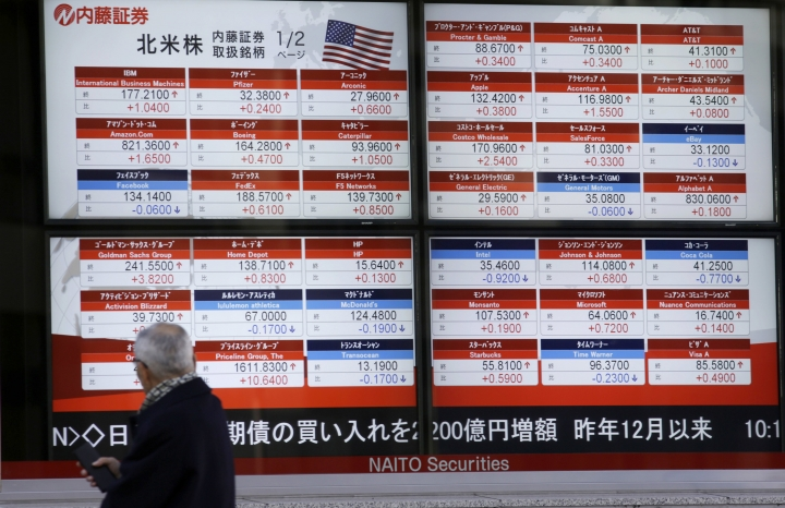 A man looks at an electronic stock board showing U.S. share prices at a securities firm in Tokyo, Friday, Feb. 10, 2017. Asian stocks advanced Friday led by big gains in Japan after U.S. President Donald Trump promised that he would soon cut taxes for businesses. Japan's benchmark Nikkei 225 index surged 2.4 percent as the yen weakened against the dollar, lifting shares of exporters. (AP Photo/Eugene Hoshiko)