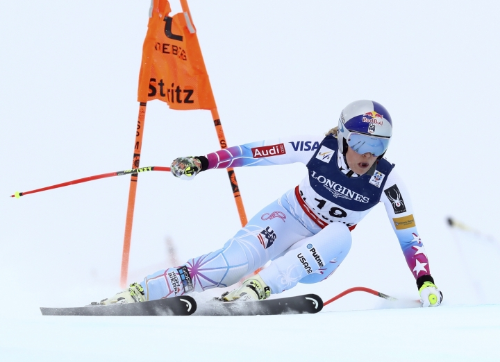 United States's Lindsey Vonn speeds down the course during a women's combined event, at the alpine ski World Championships, in St. Moritz, Switzerland, Friday, Feb. 10, 2017. (AP Photo/Alessandro Trovati)