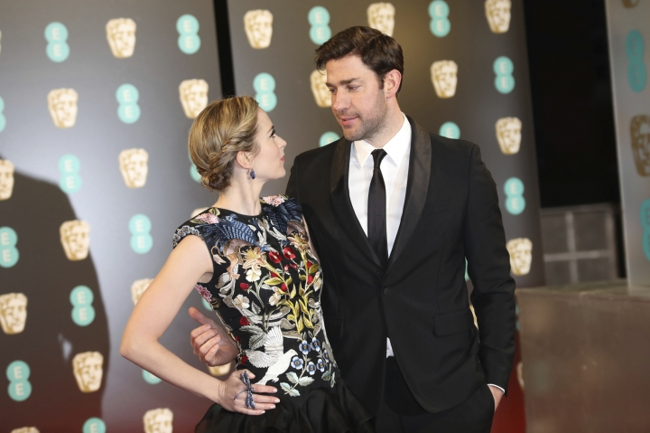 Actors Emily Blunt and John Krasinski pose for photographers upon arrival at the British Academy Film Awards in London, Sunday, Feb. 12, 2017. (Photo by Vianney Le Caer/Invision/AP)