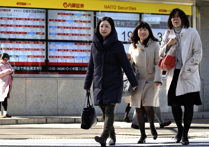 Women walk past an electronic stock indicator of a securities firm in Tokyo, Monday, Feb. 13, 2017. Asian stock markets have risen after major Wall Street indexes ended last week at record highs and a summit between U.S. President Donald Trump and Japan's Prime Minister Shinzo Abe appeared to sooth tensions over trade and currency policies. Benchmarks in Japan, China, Australia and South Korea all advanced.( (AP Photo/Shizuo Kambayashi)