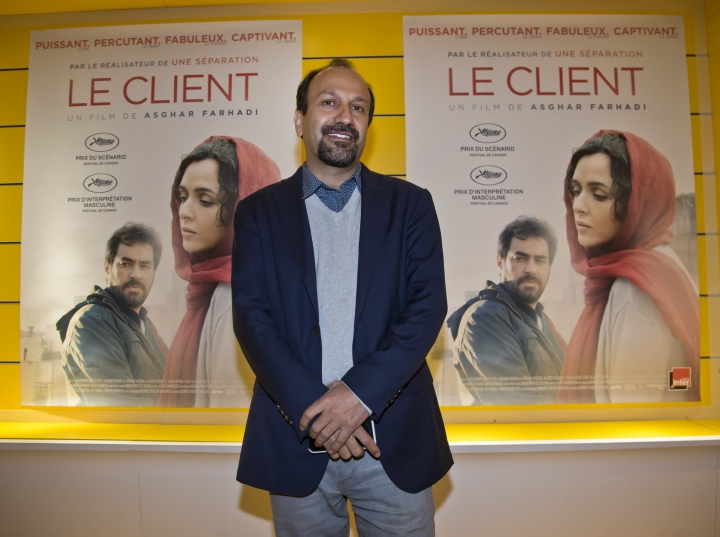 "FILE- In this Monday, Oct. 10, 2016 file photo, Iranian director Asghar Farhadi poses for his film ""the Salesman"" during the premier in Paris, Monday, Oct. 10, 2016. London's mayor says the British capital will hold a free outdoor screening of an Academy Award-nominated Iranian film whose director scrapped plans to attend the Oscars because of President Donald Trump's travel ban. (AP Photo/Michel Euler, File)"