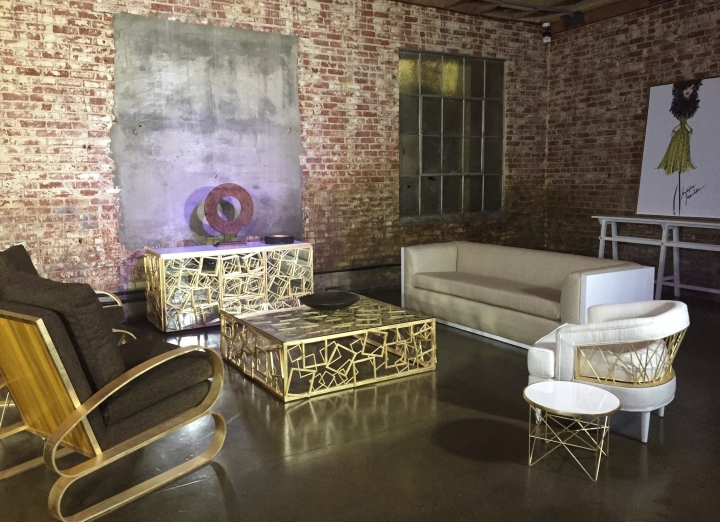 "This Jan. 25, 2017 photo shows pieces from the Badgley Mischka Home Collection on display in Los Angeles. Design duo Mark Badgley and James Mischka, known for their show-stopping red carpet gowns, are bringing all the glamour of their fashion show to a living room near you. The designers describe their first-ever Badgley Mischka Home Collection, launching Tuesday, Feb. 14, 2017, as ""couture furniture"" infused with old Hollywood glamour. (AP Photo/Nicole Evatt)"