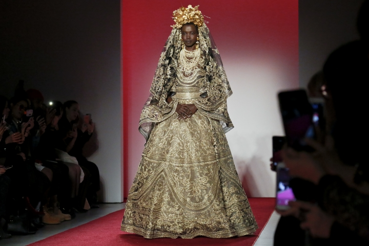 Fashion from the Naeem Khan collection is modeled during Fashion Week, Tuesday, Feb. 14, 2017, in New York. (AP Photo/Bebeto Matthews)