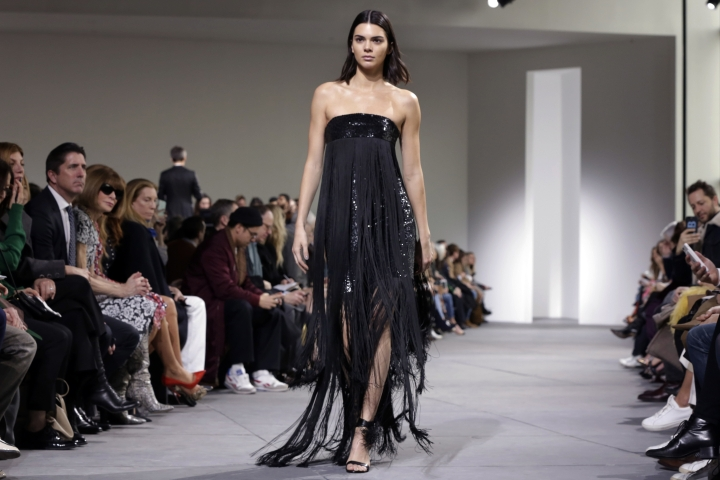Kendall Jenner models in the Michael Kors collection during Fashion Week in New York, Wednesday, Feb. 15, 2017. (AP Photo/Richard Drew)