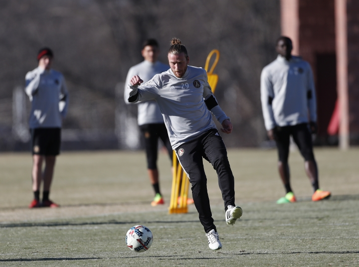 Atlanta United FC's Jacob Peterson works during a soccer training session Thursday, Feb. 16, 2017, in Flowery Branch, Ga. More than 40,000 tickets have been sold for Atlanta's March 5 opening game against the New York Red Bulls at Georgia Tech's Bobby Dodd Stadium. (AP Photo/John Bazemore)