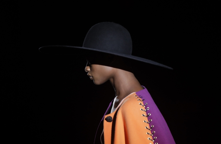 A model wears a creation part of the Fausto Puglisi women's Fall-Winter 2017-18 collection, that was presented in Milan, Italy, Wednesday, Feb. 22, 2017. (AP Photo/Luca Bruno).