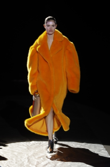 A model wears a creation part of Annakiki women's Fall/Winter 2017-2018 collection, presented during the Milan Fashion Week, in Milan, Italy, Wednesday, Feb. 22, 2017. (AP Photo/Antonio Calanni)