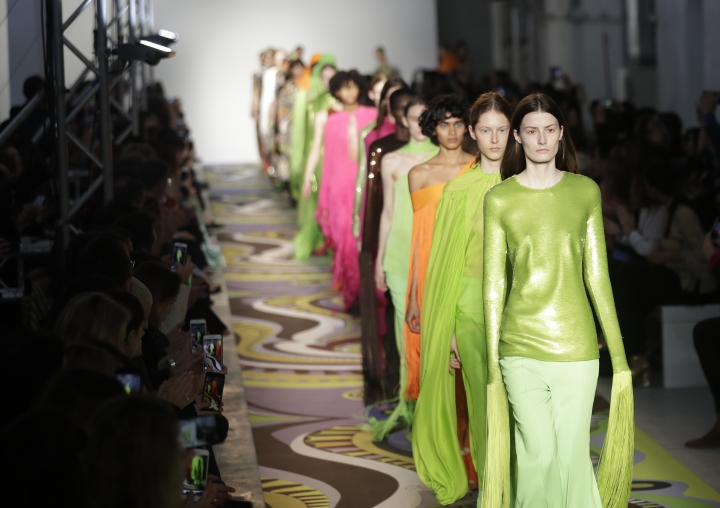 Models wear creations part of the Emilio Pucci women's Fall-Winter 2017-18 collection, that was presented in Milan, Italy, Wednesday, Feb. 22, 2017. (AP Photo/Antonio Calanni).