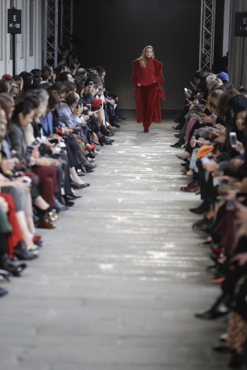 A model wears a creation part of the Max Mara women's Fall-Winter 2017-18 collection, that was presented in Milan, Italy, Thursday, Feb. 23, 2017. (AP Photo/Luca Bruno).