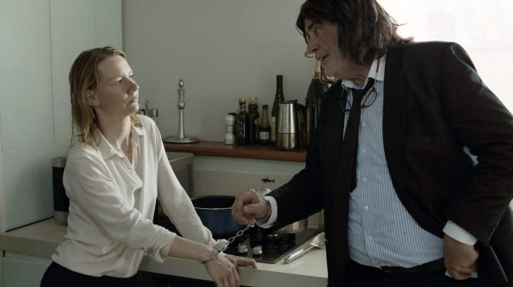 "This image released by Sony Pictures Classics shows Sandra Huller as Ines, left, and and Peter Simonischek as Winfried in a scene from the Komplizen Film, ""Toni Erdmann."" The film is nominated for an Oscar for best foreign language film. The 89th Academy Awards will take place on Feb. 26, 2017. (Sony Pictures Classics via AP)"