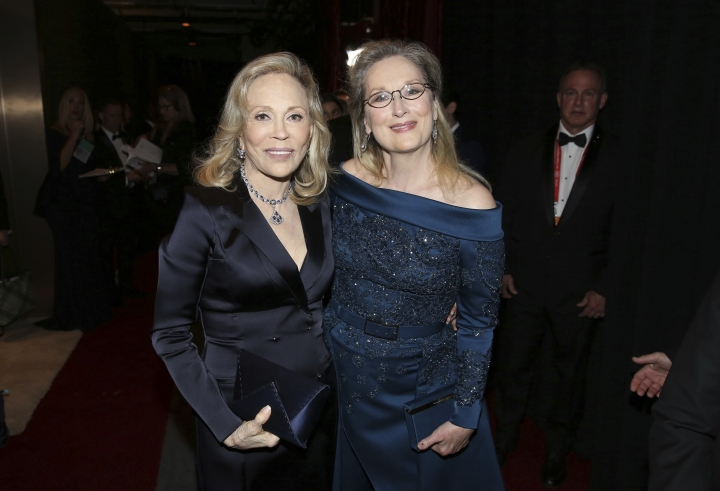 Faye Dunaway, left, and Meryl Streep appear backstage at the Oscars on Sunday, Feb. 26, 2017, at the Dolby Theatre in Los Angeles. (Photo by Matt Sayles/Invision/AP)