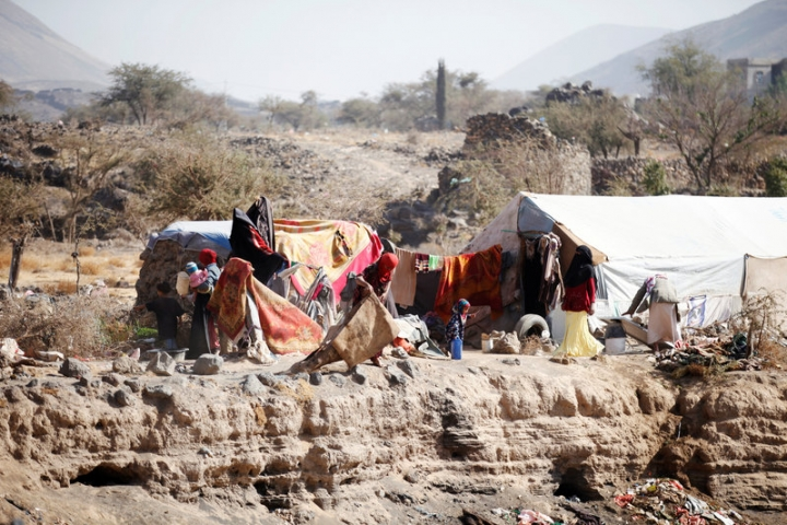 People are pictured near their tent at a camp for internally displaced people in Dharawan, near the capital Sanaa, Yemen February 28, 2017. REUTERS/Khaled Abdullah