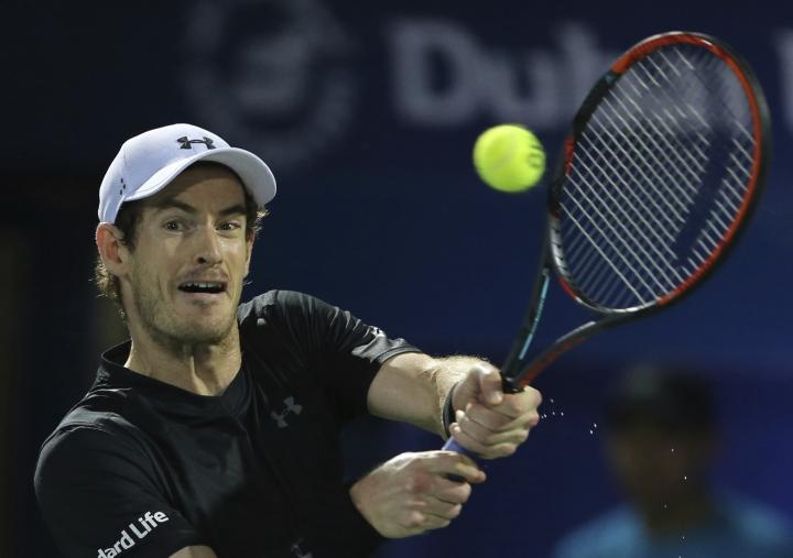 Andy Murray of Great Britain returns the ball to Fernando Verdasco of Spain during the final match of the Dubai Tennis Championships, in Dubai, United Arab Emirates, Saturday, March 4, 2017. (AP Photo/Kamran Jebreili)
