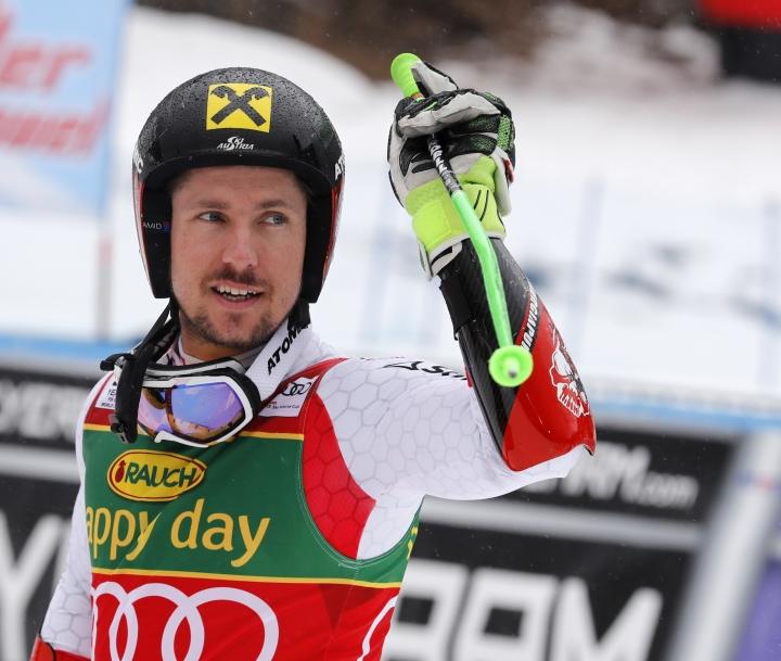 Austria's Marcel Hirscher celebrates after winning an alpine ski, men's World Cup giant slalom, in Kranjska Gora, Slovenia, Saturday, March 4, 2017. (AP Photo/Marco Trovati)