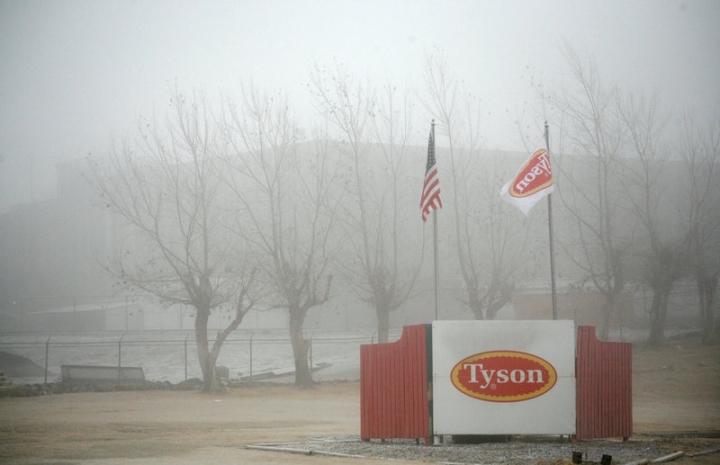 FILE PHOTO -  Fog shrouds the Tyson slaughterhouse in Burbank, Washington December 26, 2013.  REUTERS/Ross Courtney/File Photo