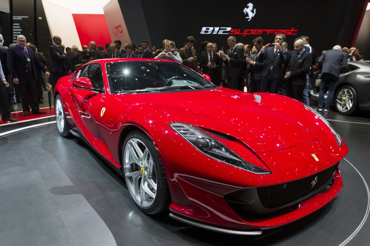 The New Ferrari 812 superfast is presented during the press day at the 87th Geneva International Motor Show in Geneva, Switzerland, Tuesday, March 7, 2017. The Motor Show will open its gates to the public from March 9 to 19 March. (Cyril Zingaro/Keystone via AP)