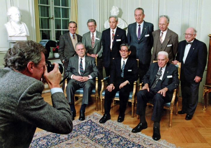 FILE - This Dec. 9, 1994 file photo shows George A. Olah, standing third from right, and other 1994 Nobel Prize laureates posing for a group photo at the Royal Swedish Academy in Stockholm. Olah, winner of the 1994 Nobel Prize in chemistry for his groundbreaking research into the unstable carbon molecules known as carbocations, has died at age 89. The University of Southern California said Olah died Wednesday, March 8, 2017 at his Beverly Hills, Calif., home. He taught at USC for many years. (AP Photo/Gunnar Ask, File)