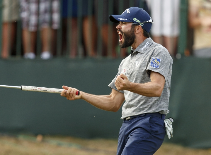 Adam Hadwin reacts after sinking the final putt to win the Valspar Championship golf tournament Sunday, March 12, 2017, at Innisbrook in Palm Harbor, Fla. (AP Photo/Mike Carlson)