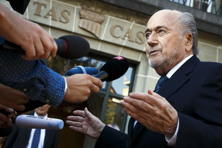 FILE - In this Thursday Aug. 25, 2016 file photo, former FIFA President Sepp Blatter arrives at the International Court of Arbitration for Sport, CAS, for his appeal on a six-year ban on football related activities in Lausanne, Switzerland. Details are revealed in a 68-page verdict newly published in March 2017, written by Court of Arbitration for Sport judges to explain why they dismissed Blatter's appeal against a six-year ban in December. (Valentin Flauraud/Keystone via AP, File)