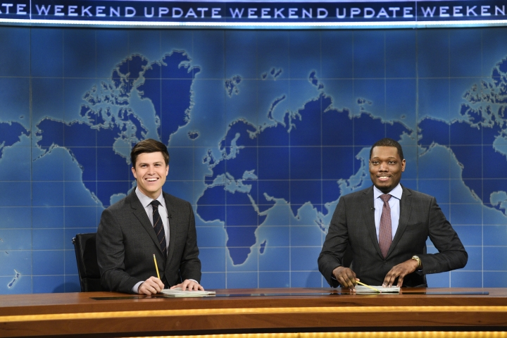 """In this March 4, 2017 photo provided by NBC, Colin Jost and Michael Che, right, appear during Weekend Update segment of """"Saturday Night Live"""" in New York. """"Saturday Night Live"""" gets the summer off but """"Weekend Update"""" will keep the political satire coming in prime-time. NBC said Tuesday, March 14, 2017, that four episodes of """"Saturday Night Live: Weekend Update"""" will air at 9 p.m. Thursday starting Aug. 10 . (Will Heath/NBC via AP)"""